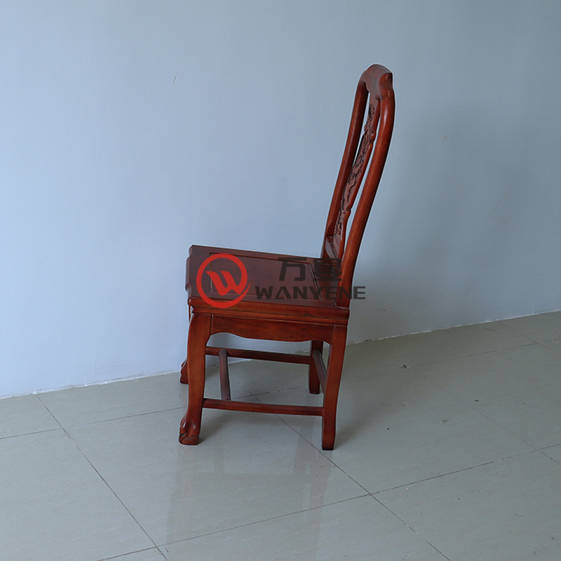 High-end antique chair Red solid wood dining chair Round-shaped backrest chair Structured strong pressure-resistant force-bearing strong banquet chair --The Product Image' style=