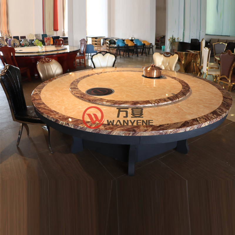High-end marble-top hot pot table with Lazy Susan Middle 2 induction cooker Black matting hardware hot pot base 16 peopl --The Product Image' style=