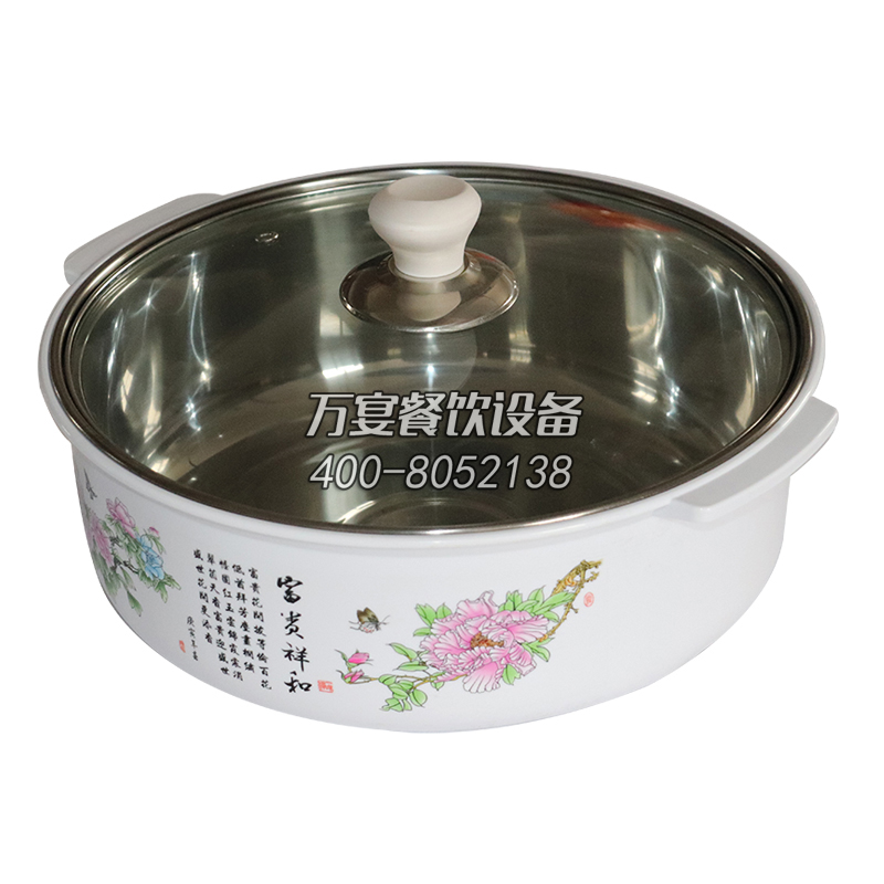 White round anti-scalding glass cover heat resistant hot pot